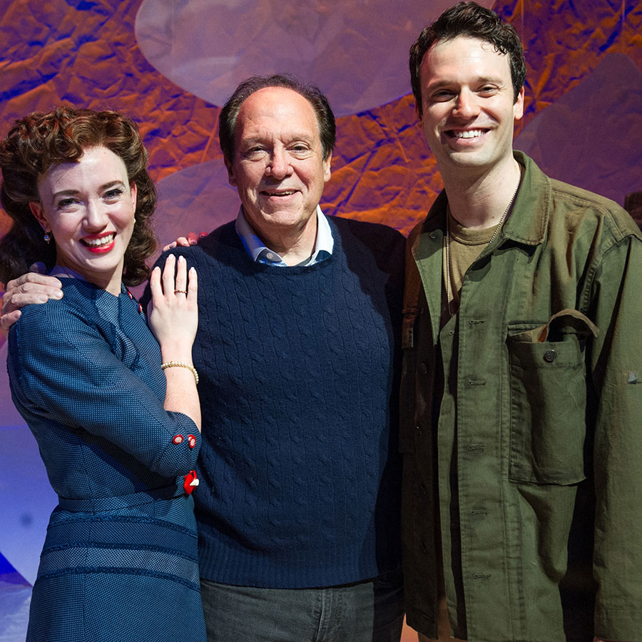 Amelia Pedlow and Jake Epstein with Dear Jack, Dear Louise playwright Ken Ludwig